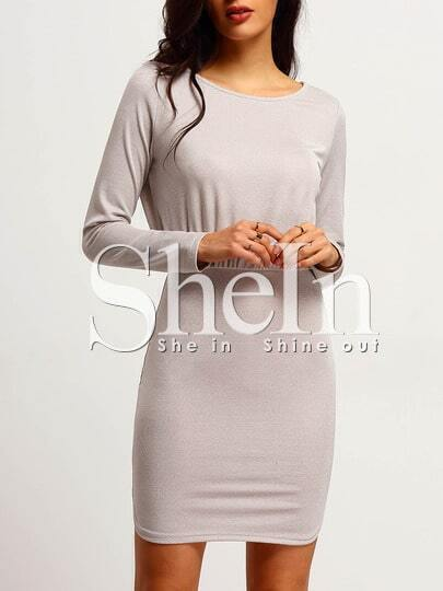 Apricot Keyhole Back Sheath Dress