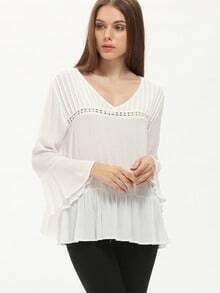 White Bell Sleeve Ruffle Blouse