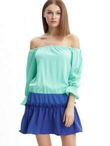 Blue Off The Shoulder Ruffle Cuff Blouse