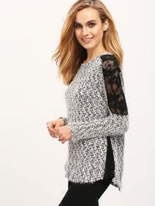 Grey Contrast Lace Tweed Sweater