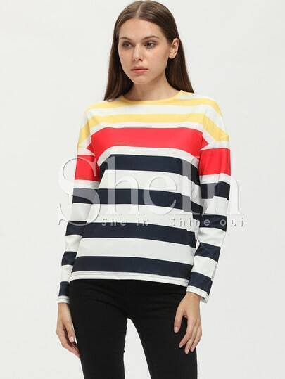 Beige Crew Neck Striped T-Shirt