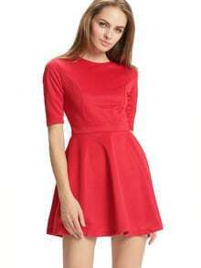 Red Half Sleeve Skater Dress