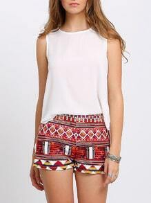 White Sleeveless Stepped Hem Blouse
