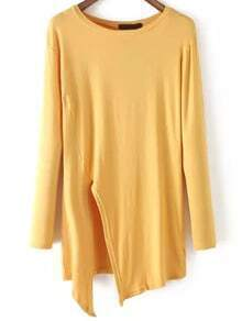 Yellow Round Neck Split Loose T-Shirt