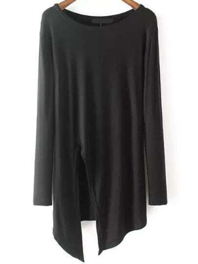 Black Round Neck Split Loose T-Shirt