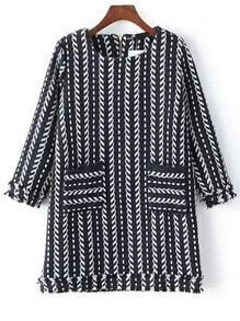 Black Navy Vertical Stripe Pockets Dress