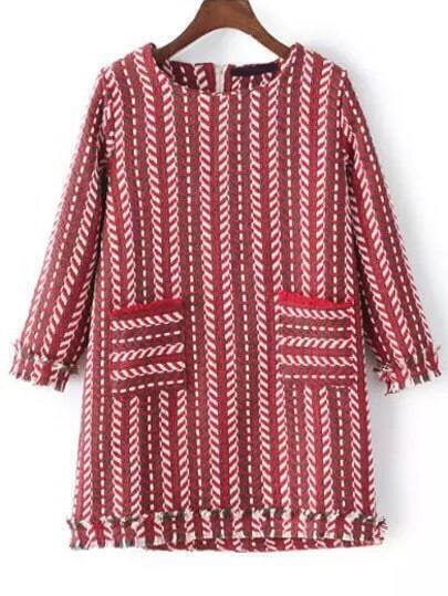 Vestido rayas verticales bolsillos -rojo blanco