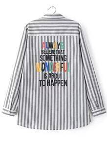 Grey White Vertical Stripe Letters Print Blouse