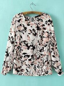 Multicolor Long Sleeve Hollow Back Leaves Print Blouse