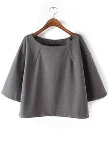 Grey Round Neck Loose Crop Blouse