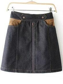 Black Zipper Pockets Denim Skirt