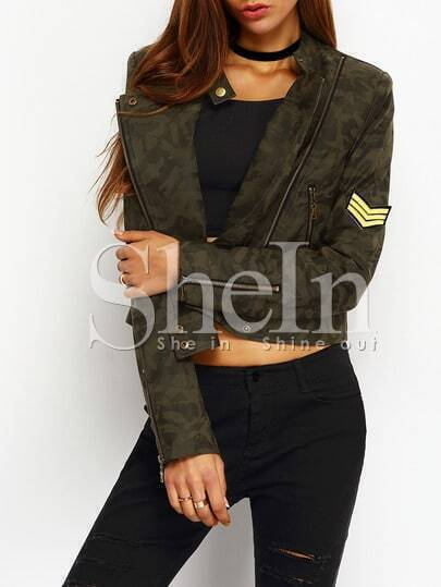 Camouflage Patch Zipper PU Leather Crop Jacket