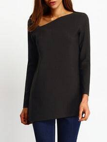 Black Cut Out Neckline Asymmetric Blouse