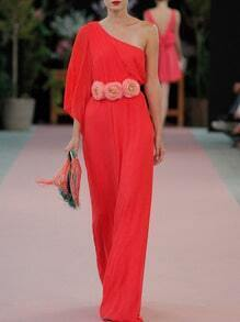 Red One Shoulder Flowers Tie-Waist Maxi Dress