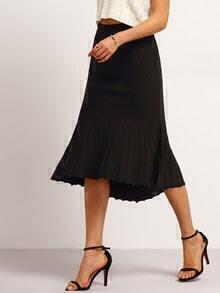 Black Ribbed Ruffle Hem Skirt