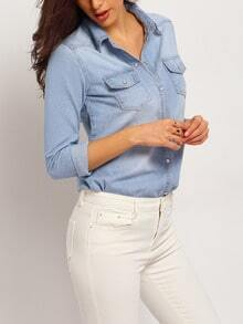 Blue Bleached Denim Blouse With Pockets