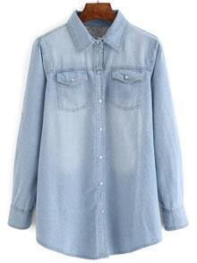 Pale Blue Bleached Denim Blouse With Pockets
