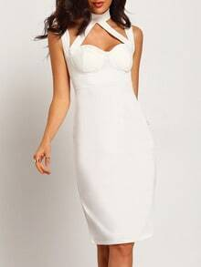 White Strap Slim Bodycon Dress