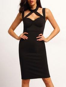 Black Strap Slim Bodycon Dress