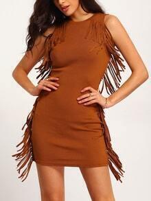 Khaki Sleeveless Tassel Bodycon Dress