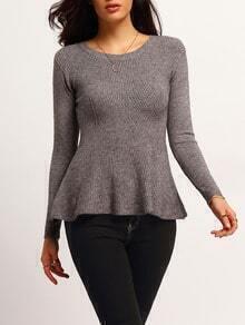 Grey Round Neck Ruffle Slim Sweater