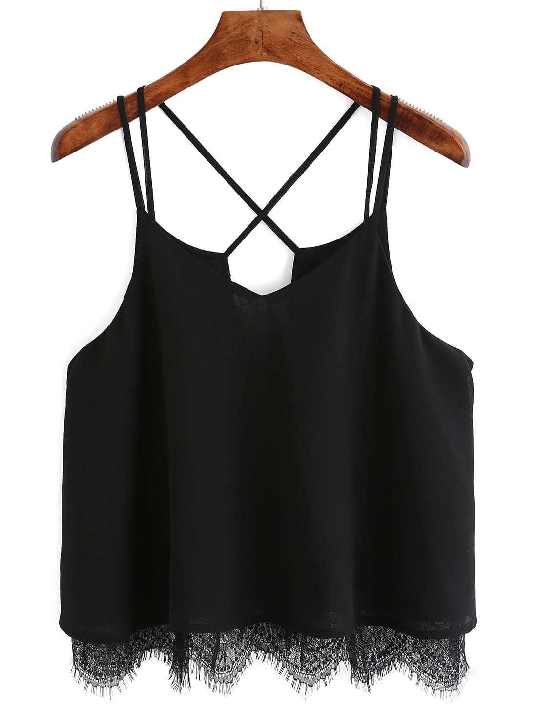 Black Spaghetti Strap Lace Cami Top vest160127001