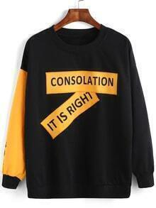Black Yellow Crew Neck Letters Print Sweatshirt