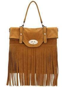 Khaki Twist Lock Fringe PU Bag