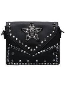 Black Magnetic Studded Skull Satchel Bag