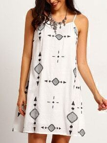 White Spaghetti Strap Embroidered Sun Dress