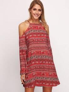 Folk Print Cold Shoulder Cut Out Back Dress