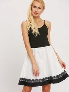 Black Spaghetti Strap Color Block Dress
