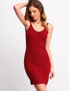 Burgundy Spaghetti Strap Bodycon Dress