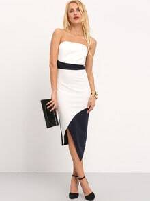 White Strapless Color Block Asymmetric Dress