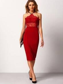 Burgundy Spaghetti Strap Lace Sheath Dress