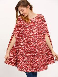 Red Crew Neck Print Cape Dress