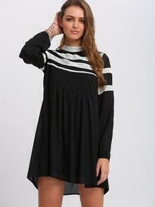 Black Contrast Lace Shift Dress