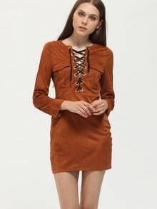brown lace up neck dress sheinsheinside