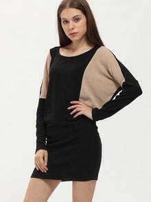Black Color Block Bodycon Dress