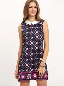 Navy Peter Pan Collar Floral Dress