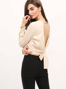 Apricot V Back Crop Blouse