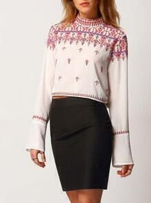 White Mock Neck Tribal Embroidered Blouse