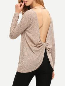 Grey V Back Loose Sweater
