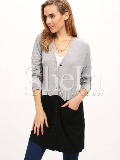 Grey V Neck With Button Outwear