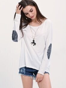 White Elbow Patch Sequined T-Shirt