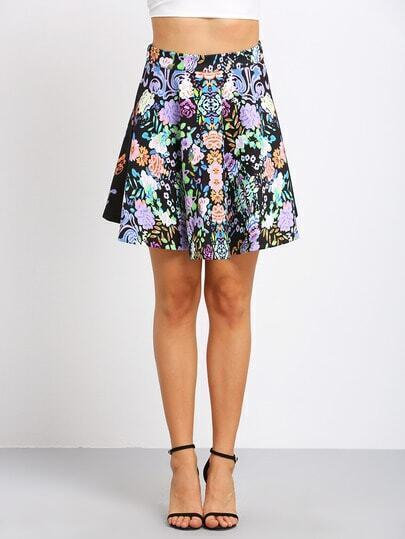 Navy Floral A Line Skirt