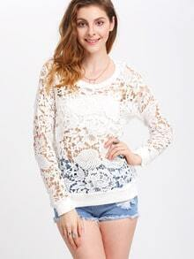 White Crew Neck Crochet Sweatshirt