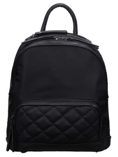 Black Zipper Diamondback PU Backpack