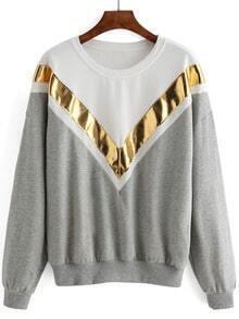 Color-block Dropped Shoulder Seam Loose Sweatshirt