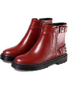 Red Round Toe Buckle Side Zipper Short Boots